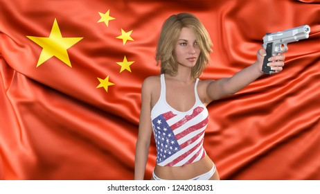 Trade war between united states of america and china symbolized with a woman with a gun and flag of china in the background as a 3d illustration