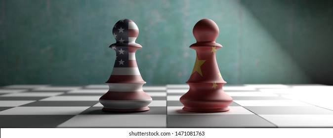 Trade war. China vs US of America chess pawns on a chessboard, banner. 3d illustration