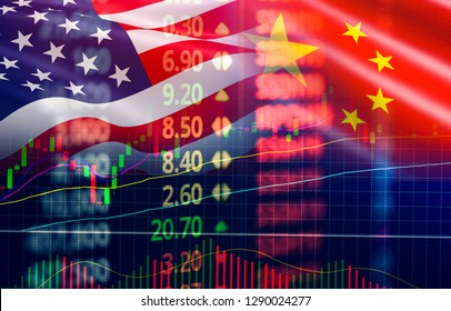 Trade war economy USA America and China flag candlestick graph Stock market exchange analysis / indicator Trading graph chart business finance money investment on display board