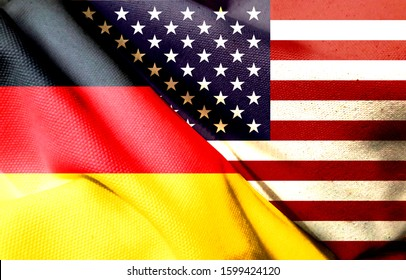 trade war. Flag of the United States. German flag