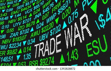 Trade War Tariffs Impact Stock Market Fears 3d Illustration