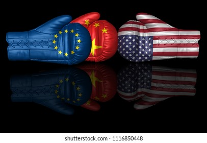 trade war usa china eu us european union tariff duty 3d rendering boxing glove sign isolated on black background
