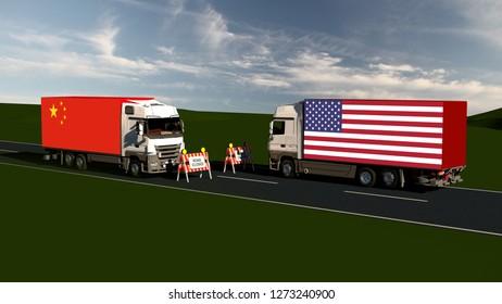 Trade war USA and China - Import, Export Trade blockade