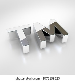 Trademark icon. 3d render of chrome trademark symbol isolated on white background.