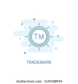 Trademark line trendy icon. Simple line, colored illustration. Trademark symbol flat design from Entrepreneurship set. Can be used for UI/UX