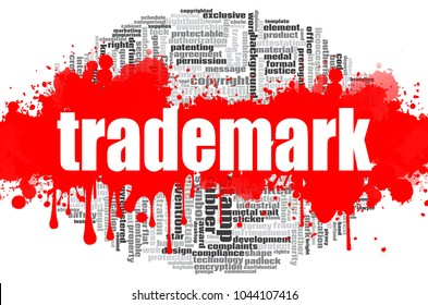 Trademark word cloud concept on white background, 3d rendering.