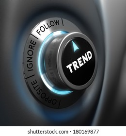 Trading concept, trend button pointing the word follow over dark grey and blue background, focus and blur effect