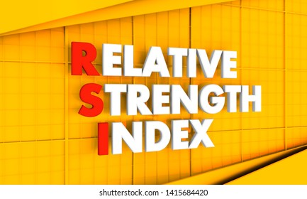 Trading dictionary. Financial market concept. Acronym RSI - Relative Strength Index. 3D rendering