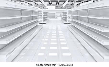 The trading floor of the supermarket with shelf shelves. 3d illustration