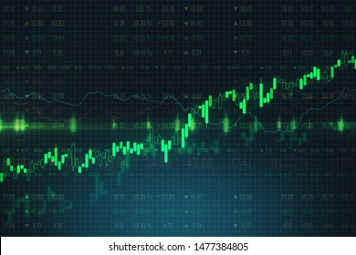 Trading and growth concept with bright green graphs going up at abstract forex chart background. 3D Rendering