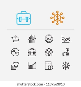 Trading icons set. Stock sector and trading icons with volatility, sell and hedge funds. Set of analysis for web app logo UI design.