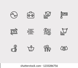 Trading icons set. Stock sector and trading icons with capitalization, bear market and bid-ask spread. Set of analysis for web app logo UI design.