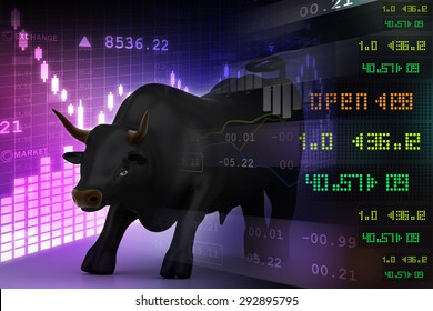 Trading and investing financial symbol with bull