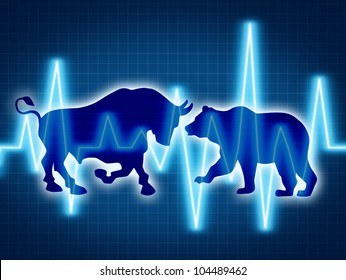 Trading and investing financial symbol with a two icons representing the bear and bull markets with a wire frame chart and ticker investing graph on a black background.