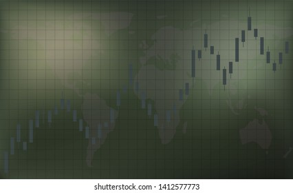 Trading on the stock exchange and the market of phoneme. Chart candles uptrend. Dark green background. Free space for inscriptions and text. Business background. Illustration.