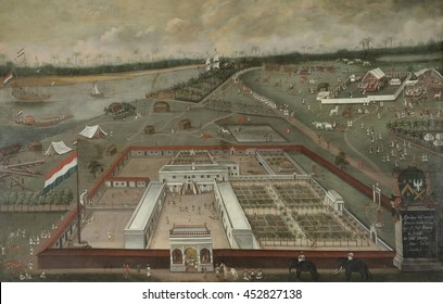 The Trading Post of the Dutch East India Company in Hooghly, Bengal, by Hendrik van Schuylenburgh, 1665, Dutch Colonial painting, oil on panel. At left is the Ganges River. Around the factory are man