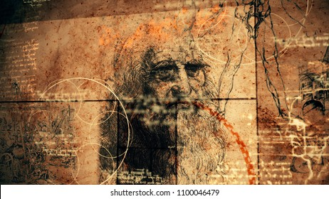 A traditional 3d rendering of code Da Vinci with the portrait of the famous master in his old age, human legs, some appliances and bright short quotes written in the Italian language.