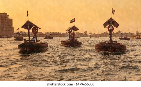 Traditional Abra ferries at sunset.  Digital graphics - watercolor style