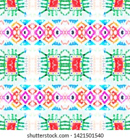 Traditional african pattern. Ethnic seamless print. Fashion zigzag illustration. Graphic line art. Natural tribal ornament. White, blue, red, green, purple traditional african pattern.