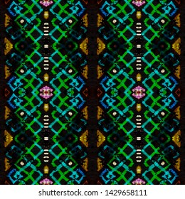 Traditional african pattern. Ethnic seamless print. Hand drawn polynesian background. Endless striped wallpaper. Black, gold, purple, cyan, green traditional african pattern.