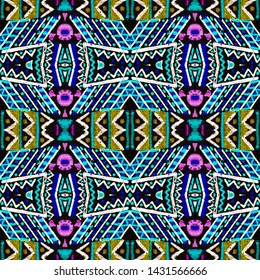 Traditional african pattern. Geometric seamless embroidery. Exotic polynesian background. Colorful folk background. Geo ornament. Black, gold, purple, cyan, green traditional african pattern.