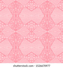 Traditional African Pattern. Peach Arabic Seamless Pattern. Bleached Folk Motif. Magenta Abstract Background. Pink Stripe Style. Snowy Traditional African Pattern.