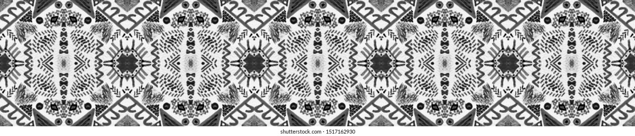 Traditional African Pattern. Repeat Bohemian Print. Obsidian Vintage Natural Fashion. Alabaster Tribal Handmade Drawing. Monochrome Abstract Art. Ink Traditional African Pattern.