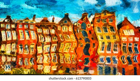 Traditional Amsterdam houses reflection oil painting