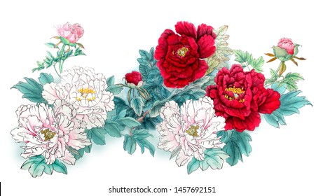 The traditional ancient Chinese hand - painted peony flowers Meaning: wealth and noble