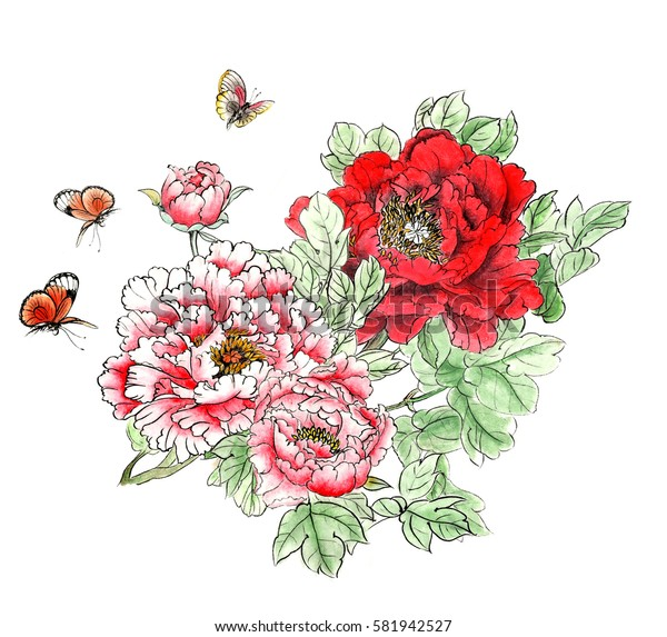 The traditional ancient Chinese hand - painted peony flowers