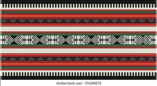 Traditional Arabian Sadu Pattern Carpet