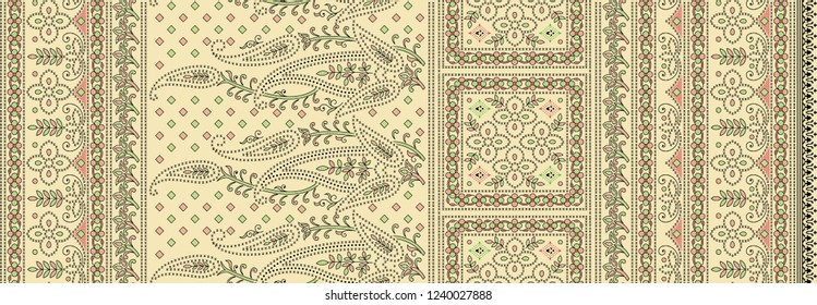 traditional  background   paisley motif  sari border design
