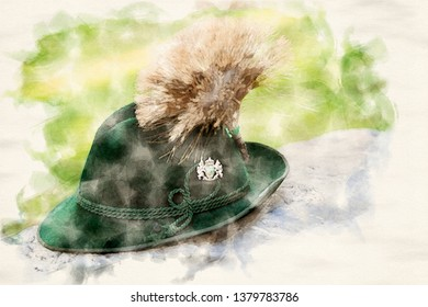 traditional bavarian hat on a stone in watercolors