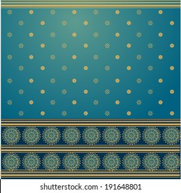 Traditional blue and golden Indian saree design background
