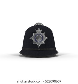 traditional british police helmet isolated on white. Front view. 3D illustration