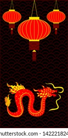Traditional chinese Dragon character. Flat style. Background traditional chinese red lanterns and ornament. Vertical layout