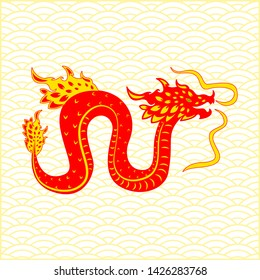 Traditional chinese Dragon character. Flat style. Background traditional chinese ornament