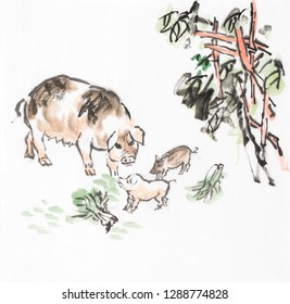 Traditional chinese ink and wash painting of a pig mother with piglets eating cabbage