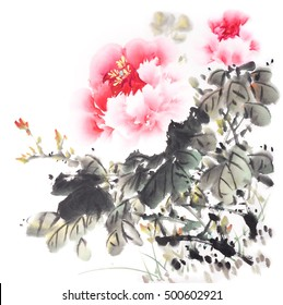 Traditional chinese ink and wash painting:peony flower