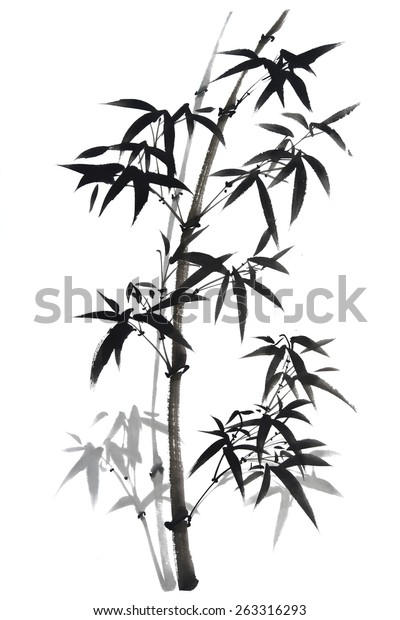 Traditional Chinese Painting Bamboo Stock Illustration