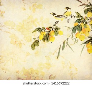 Traditional Chinese painting of loquat and two birds