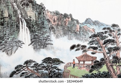 traditional Chinese painting , mountain and  floating clouds