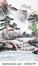 traditional Chinese painting , mountain and river
