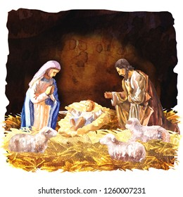 Traditional Christmas Crib, Holy Family, Christmas nativity scene with baby Jesus, Virgin Mary and Joseph in the manger with sheeps, Christian Catholic religious card, watercolor illustration