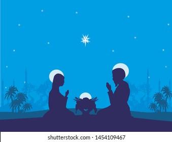 Traditional Christmas Nativity Scene, abstract illustration