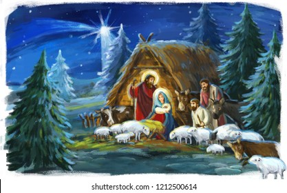 traditional christmas scene with holy family and animals