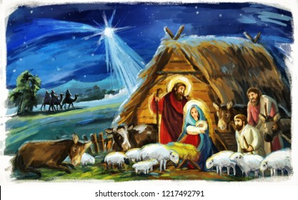 traditional christmas scene with holy family for different usage