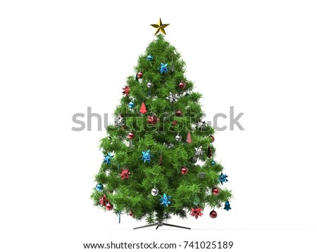 traditional christmas tree with red and blue decorations 3d illustration