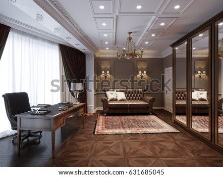 Traditional Classic Home Office Interior Design. 3d Rendering