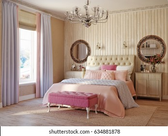 Traditional Classic Modern Provence Rustic Bedroom Interior Design. 3d rendering